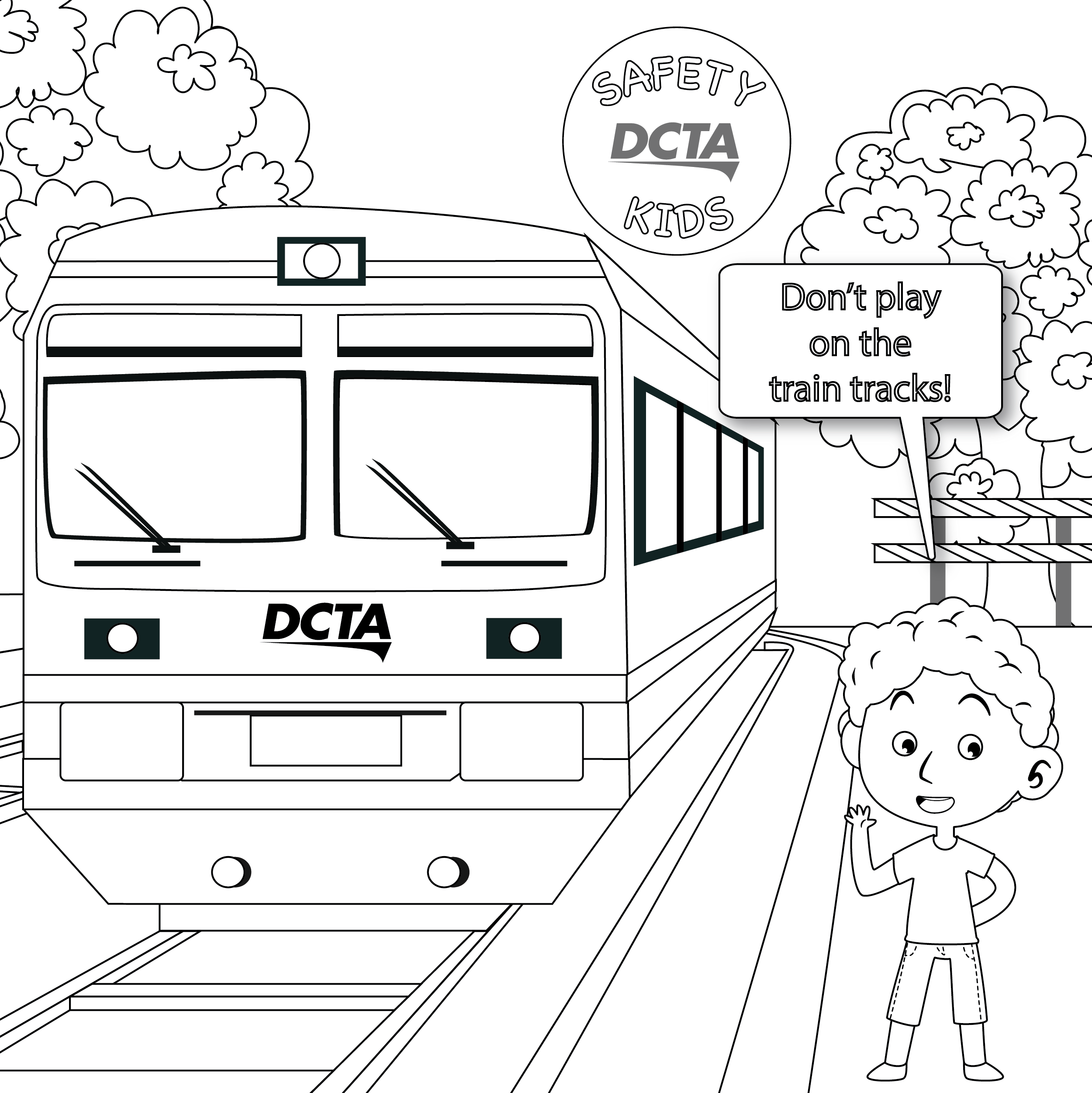 Safety Kids Coloring Page Thumbnail