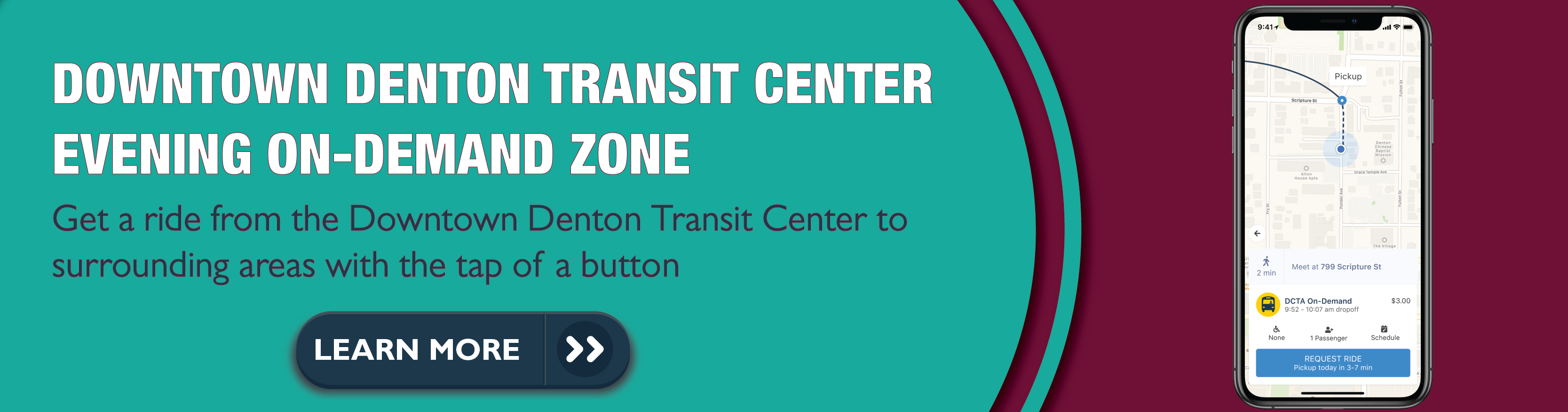 "Image of phone with DCTA On-Demand app with text ""Downtown Denton Transit Center Evening On-Demand Zone. Get a ride from the DDTC to surrounding areas with the tap of a button"""