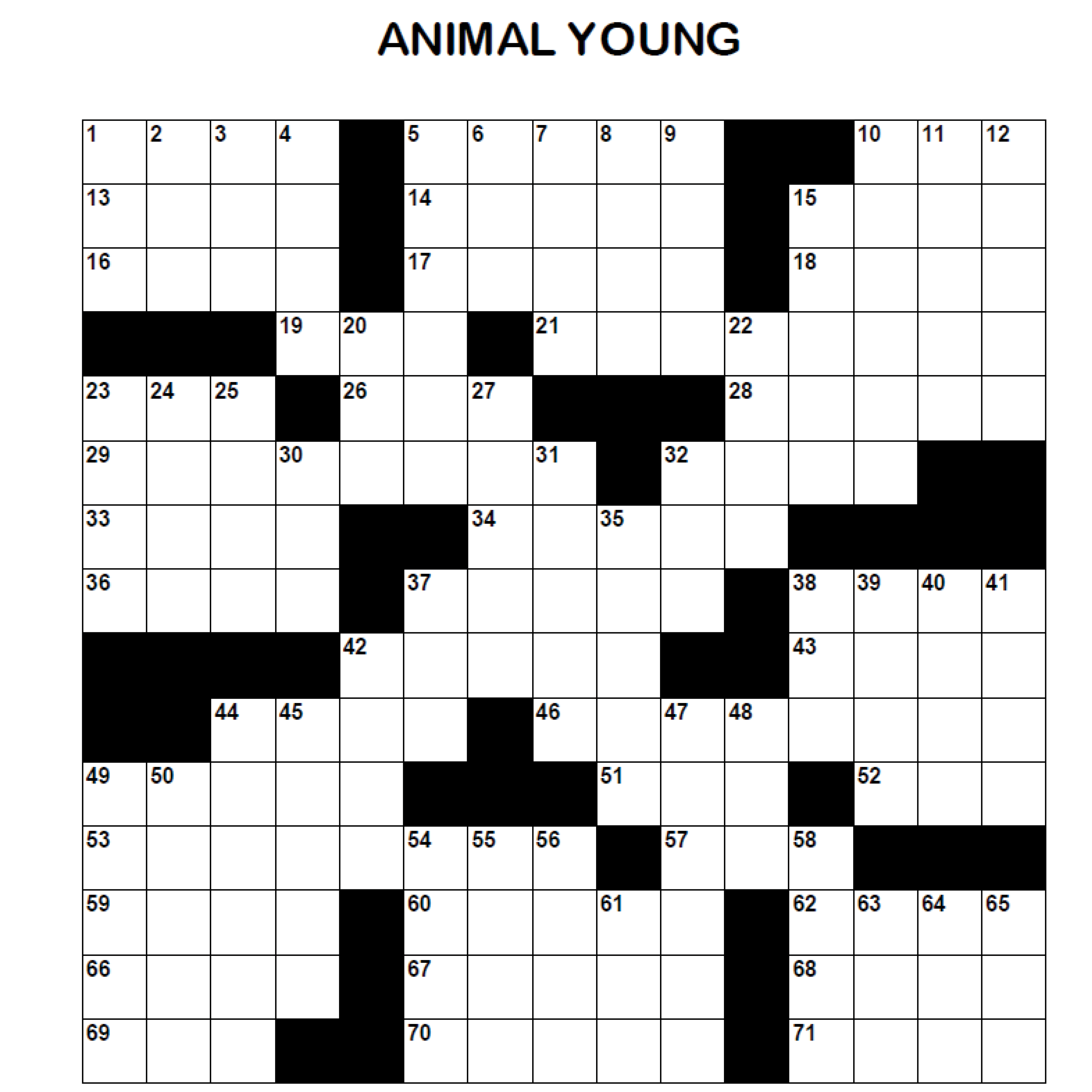 Adult Crossword - Animal Young Thumbnail