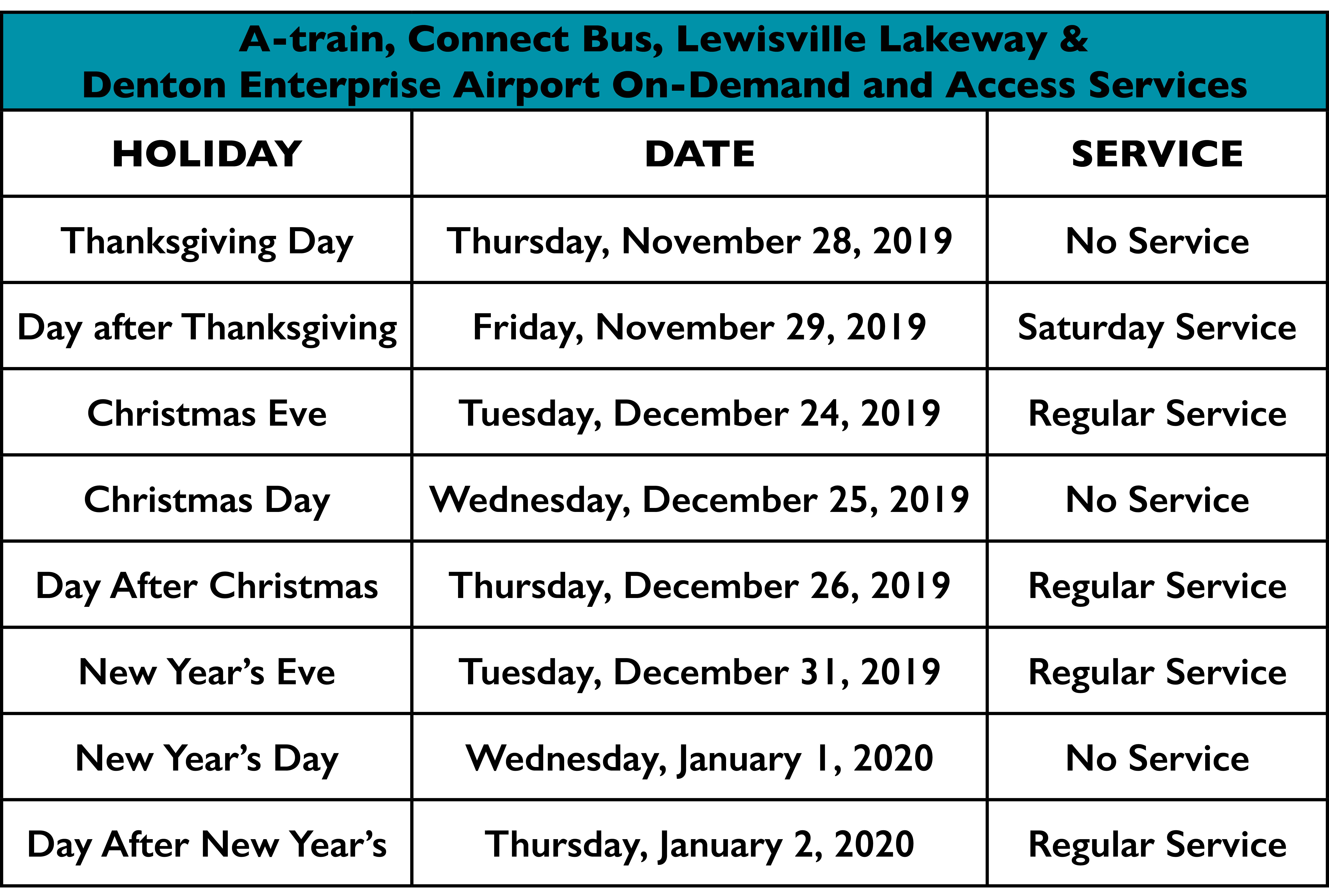 Christmas Train Schedule 2020 Plan Your Winter Travel with DCTA's 2019 2020 Holiday Schedule | DCTA