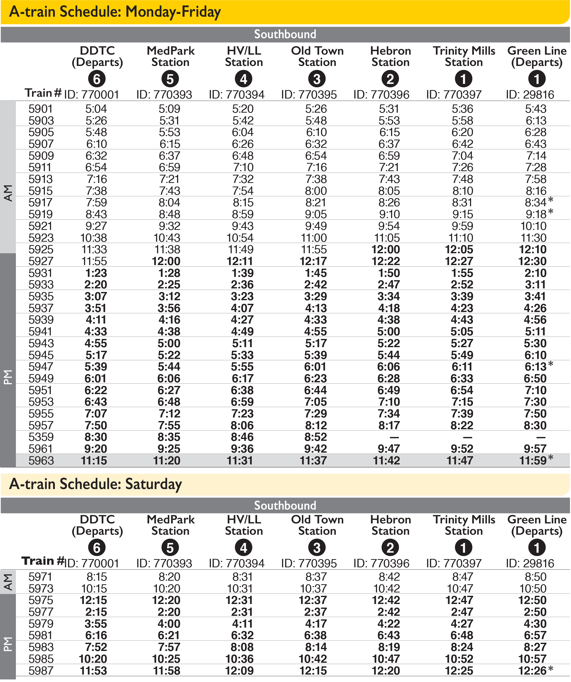A-train Southbound Schedule