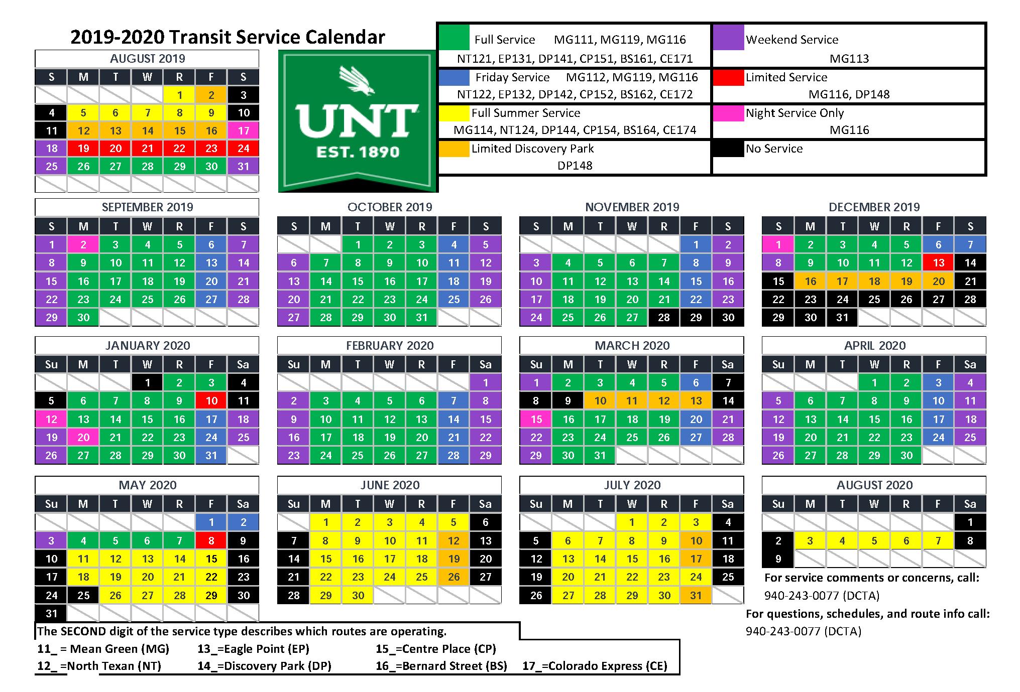 Unt Academic Calendar 2020 UNT: Bernard Street AM | DCTA