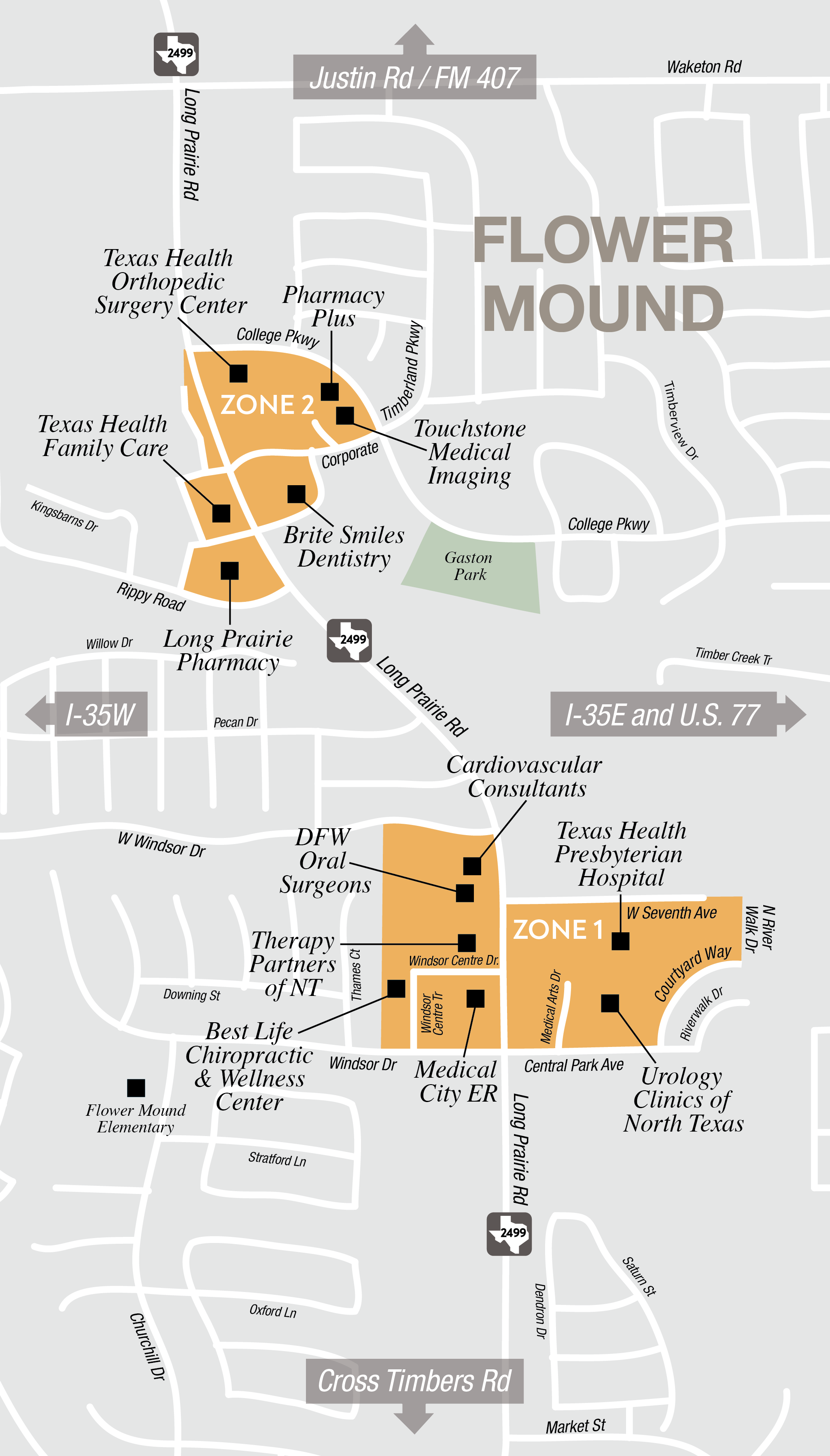 Lewisville Access to Flower Mound Map