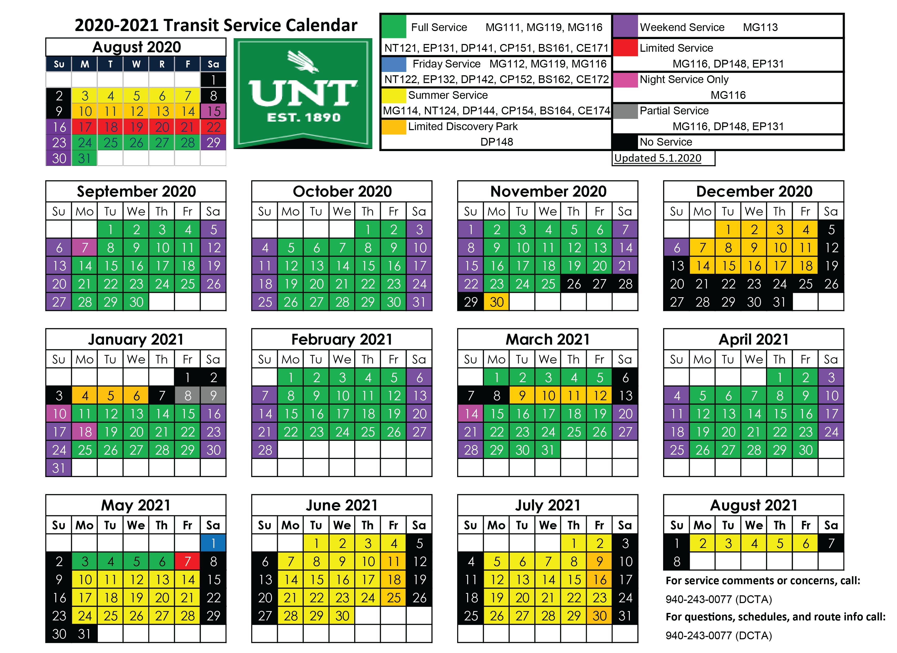 Unt Spring 2021 Calendar University Services | DCTA