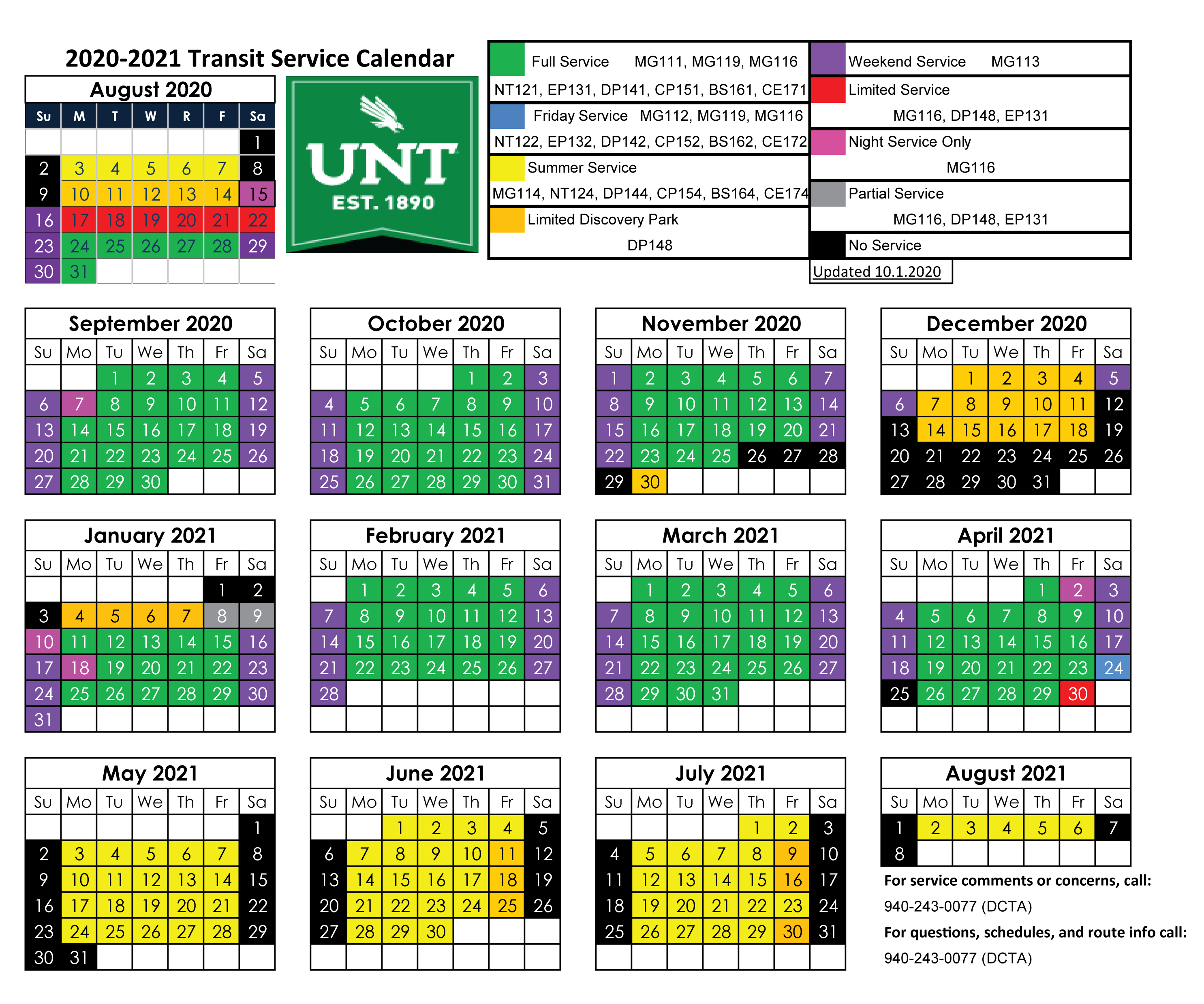 2020-2021 UNT Service Calendar Day counts Reduced