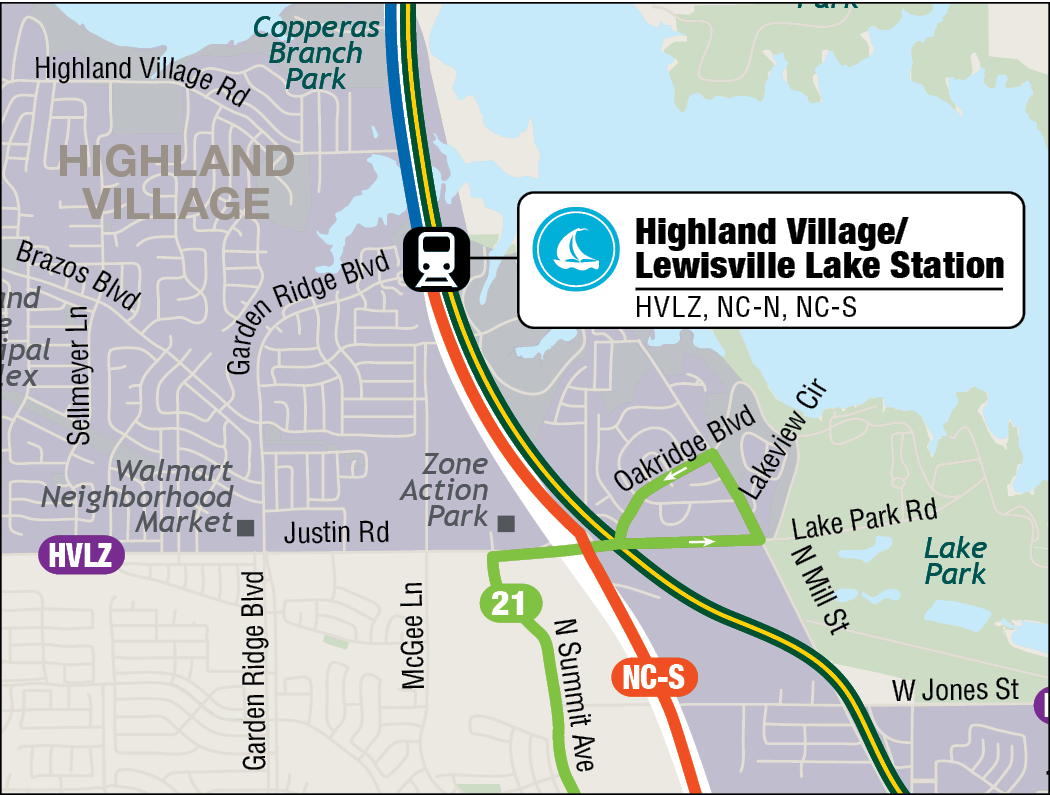 Highland Village / Lewisville Lake Station Map