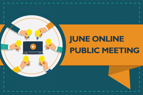 "Graphic text reads ""June Online Public Meeting"""
