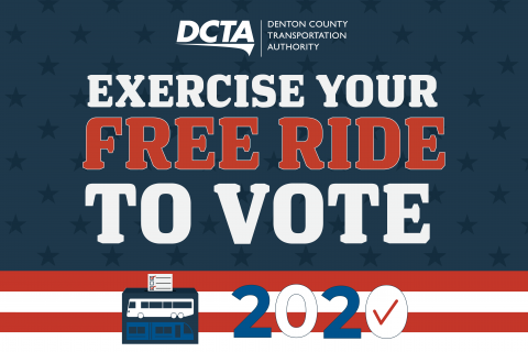 "Red white and blue graphic that reads ""Exercise your free ride to vote"""