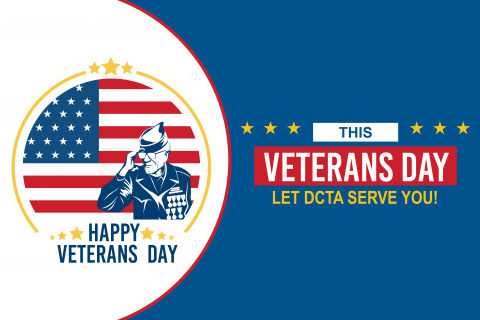 "Blue DCTA graphic with veteran salute. Text reads ""This Veterans Day Let DCTA Serve You"""