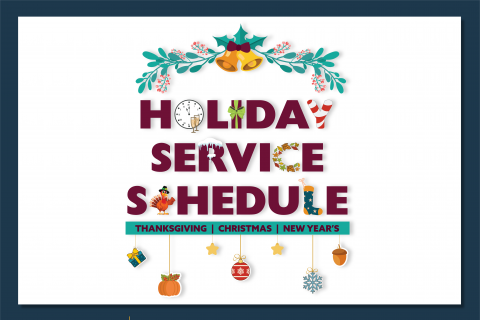 DCTA Holiday Service Schedule Graphic