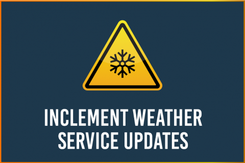 "Blue Graphic with text ""Inclement Weather Service Updates"""